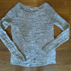 Guess Eyelet Gray Layering Sweater Small
